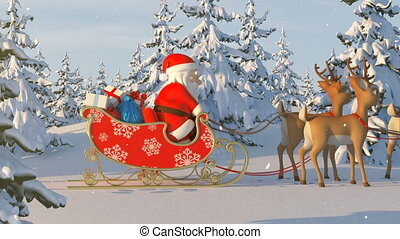 Santa Claus with Reindeer Goes on the Way