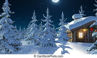 Santa Claus with Reindeer Goes on the Way from House of Santa and Flies Against the Moon. Beautiful 3d Animation with Writing Merry Christmas and Happy New Year Texts on a Green, Full HD