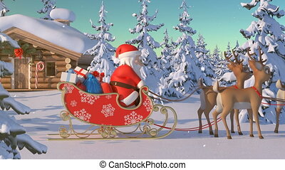 Santa Claus with Reindeer Goes on the Way from House of Santa in Lapland. Beautiful 3d Animation with Northern Lights and Merry Christmas Text on a Green, So You Can Add It Anywhere and Whenever