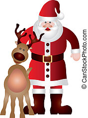 Santa Claus with Reindeer Illustration
