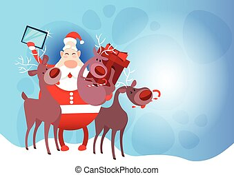 Santa Claus With Reindeer Making Selfie Photo, New Year Christmas Holiday Greeting Card