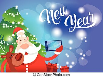 Santa Claus With Reindeer Making Selfie Photo, New Year...