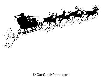 Santa Claus with Reindeer Sleigh - Black Silhouette. - Santa...