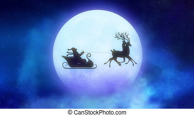 Santa Claus with reindeers loopable concpet