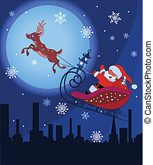 Santa Claus with Rudolf flying over night town and ...