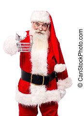 Santa Claus with shopping cart