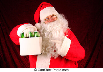 Santa Claus with Six Pack of Beer