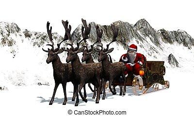Santa Claus with sleigh, reindeer,