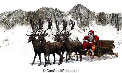 Santa Claus with sleigh, reindeer,