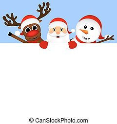 Santa Claus with snowman and reindeer