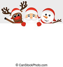 Santa Claus with snowman and reindeer peeking out from behind a
