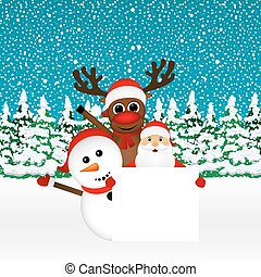 Santa Claus with snowman and reindeer peeking