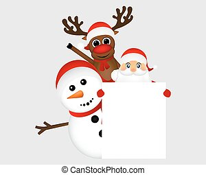 Santa Claus with snowman and reindeer peeking out from behind a large white poster