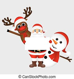 Santa Claus with snowman and reindeer peeking out from behind