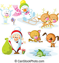 Santa Claus with snowman, cute Christmas animals - reindeer, cat, dog, bird and fish
