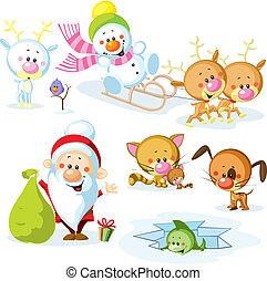 Santa Claus with snowman