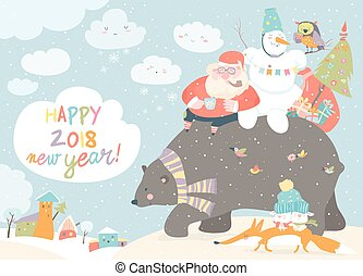 Santa Claus with snowman riding on the back of friendly bear