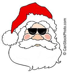 Santa Claus with sunglasses.
