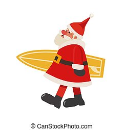 Santa Claus with surfboard flat color vector icon