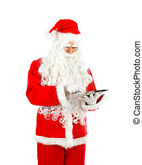 Santa Claus with tablet on white background