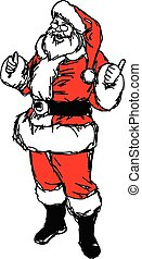 santa claus with thumb up vector illustration sketch hand drawn with black lines, isolated on white background