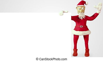santa claus with white blank board loopable animation