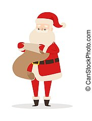 Santa Claus with Wish List Isolated on White.