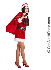 santa claus woman full body isolated