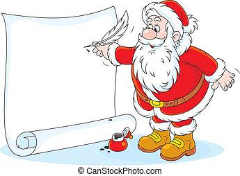 Santa Claus writing - Father Christmas writes his holiday ad...