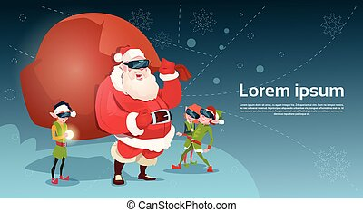 Santa Clause And Green Elf Group Wear Digital Glasses Virtual Reality Merry Christmas Happy New Year