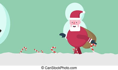 Santa Clause animation motion in the hill. Merry Christmas...