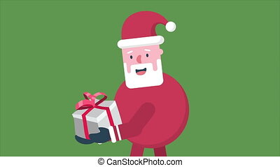 Santa Clause animation motion with gift Christmas collection