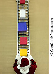 santa clause at conveyor belt