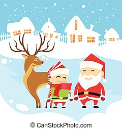 Santa Clause Christmas Elf Reindeer over Winter Snow House Village Silhouette New Year Card