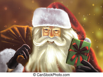 Santa Clause - Digital illustration of Santa clause with his...