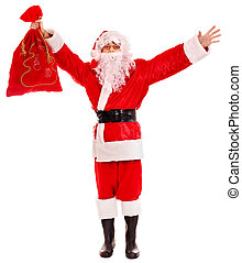 Santa Clause holding gift. Isolated.