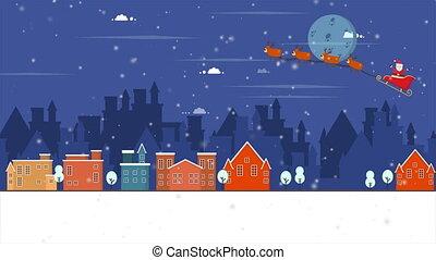 Santa Clause on deer sleigh flying in the night footage