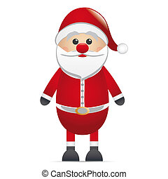santa clause red nose on isolated background