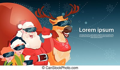 Santa Clause Reindeer Elf Group Wear Digital Glasses Virtual Reality Merry Christmas Happy New Year