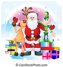 Santa Clause, Rudolph and Elf