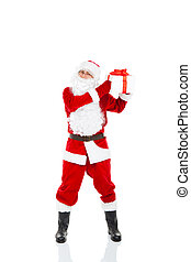 Santa Claus hold Gift box christmas new year present with red bow, full length portrait isolated on white background