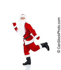 Santa Claus run go walk making step up to side forward, full length portrait, isolated on white background