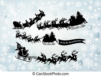 Santa Clause silhouette set