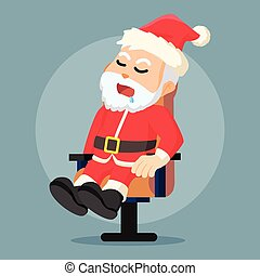 santa clause sleeping on a chair