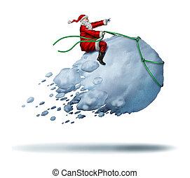 Santa Clause Snow Fun as father christmas riding a flying...