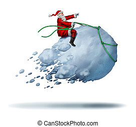 Santa Clause Snow Fun as father christmas riding a flying...