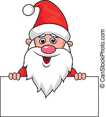 Santa clause with blank sign - Vector illustration of Santa...