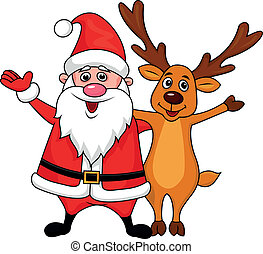 Santa clause with deer waving