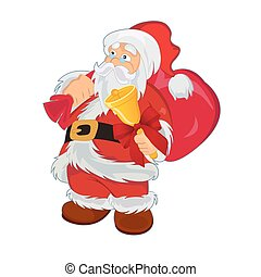 Santa Clause with gift bag and bell, vector illustration