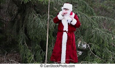 Santa Clause with ice cold hands near spruce in woods